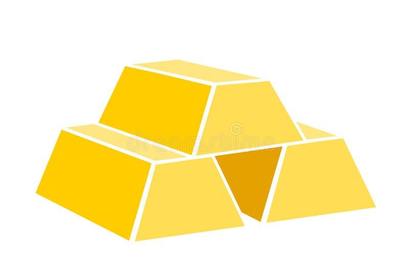 Verga d'oro come metallo prezioso importante per il lingotto del investentGold e di risparmio come metallo prezioso importante pe illustrazione vettoriale