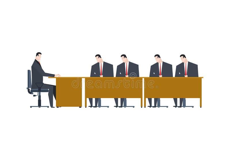 Vergadering bij werkgever Manager en leider Het leven van het bureau Vector royalty-vrije illustratie
