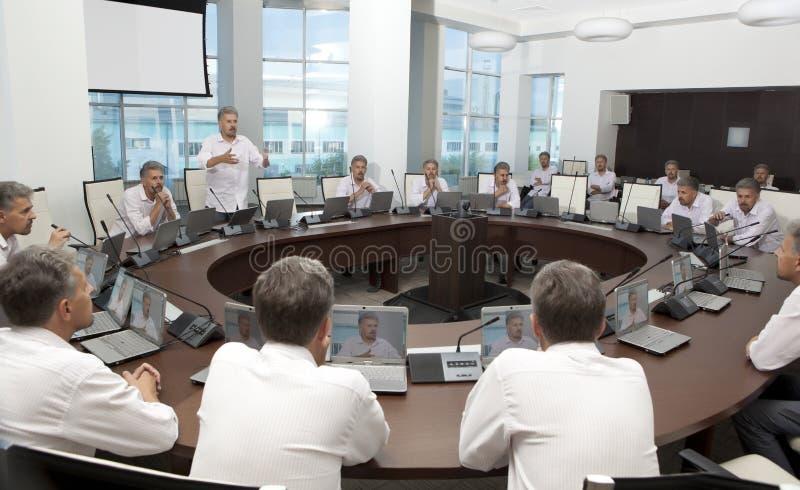 Vergadering en Besprekingsbriefing Commerciële vergadering, conferentie royalty-vrije stock foto