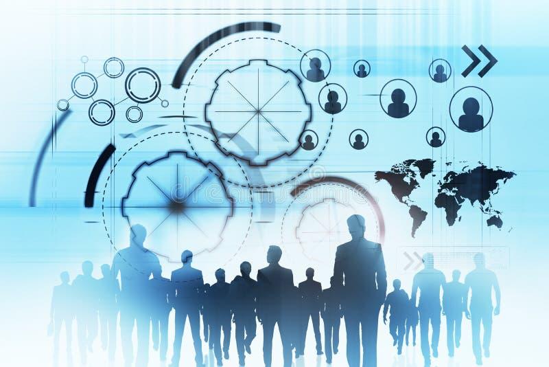 Vergadering, groepswerk en technologieconcept stock illustratie