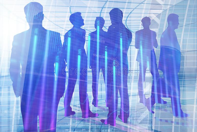 Vergadering, groepswerk, financiën en analyseconcept stock illustratie