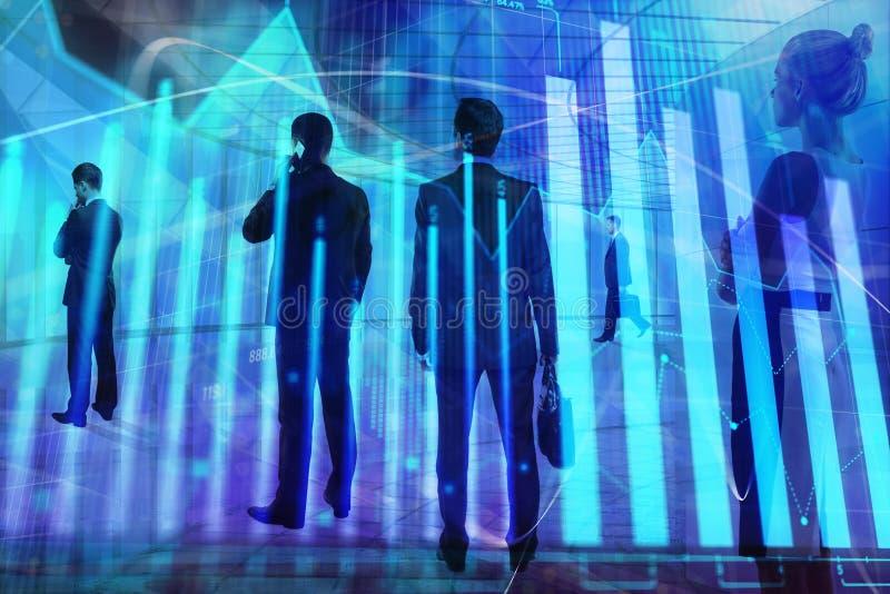 Vergadering, groepswerk, financiën en beursconcept stock foto