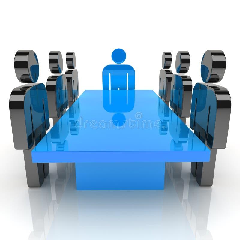 Vergadering met blauwe leider royalty-vrije illustratie