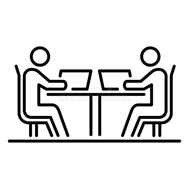 Vergadering twee werkende eenvoudige de lijn vlakke illustratie mensen van het bedrijfsmensenpictogram stock illustratie