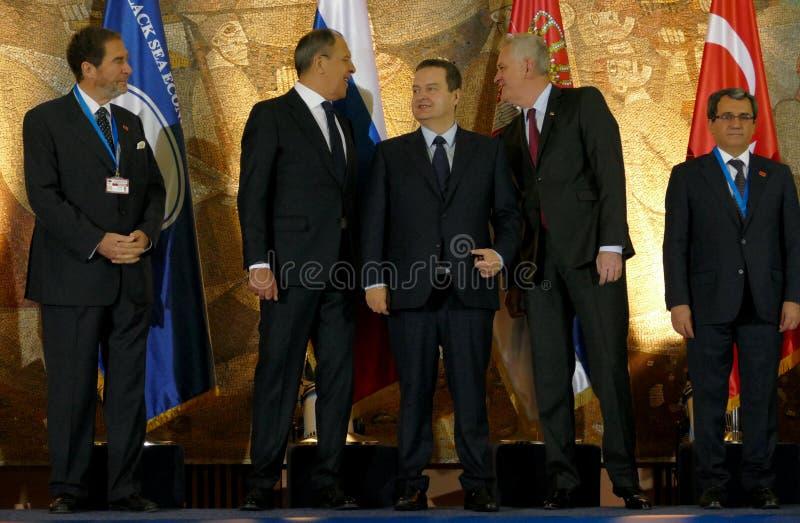 Vergadering van de Raad van Ministers van Buitenlandse zaken van de Organisatie van de de Economische Samenwerkingslidstaten van  stock afbeeldingen