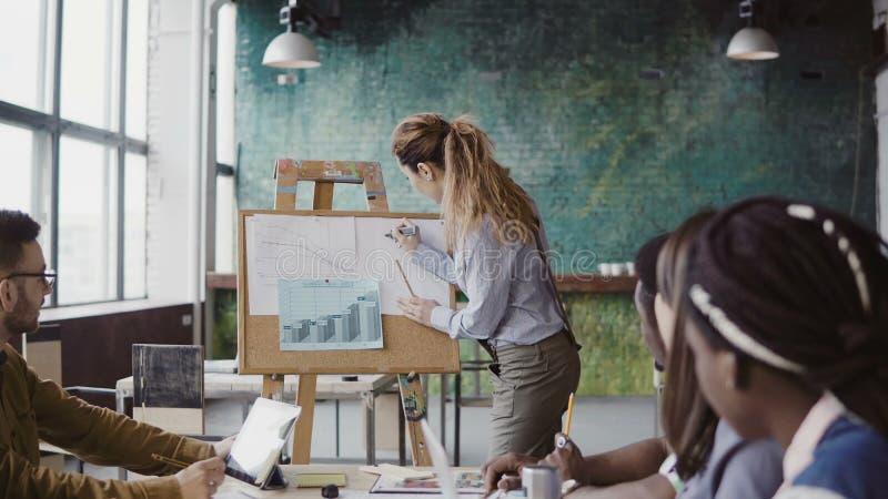 Vergadering van gemengd ras commercieel team Vrouwenmanager die financiële gegevens voorleggen aan groep mensen op modern kantoor stock afbeelding