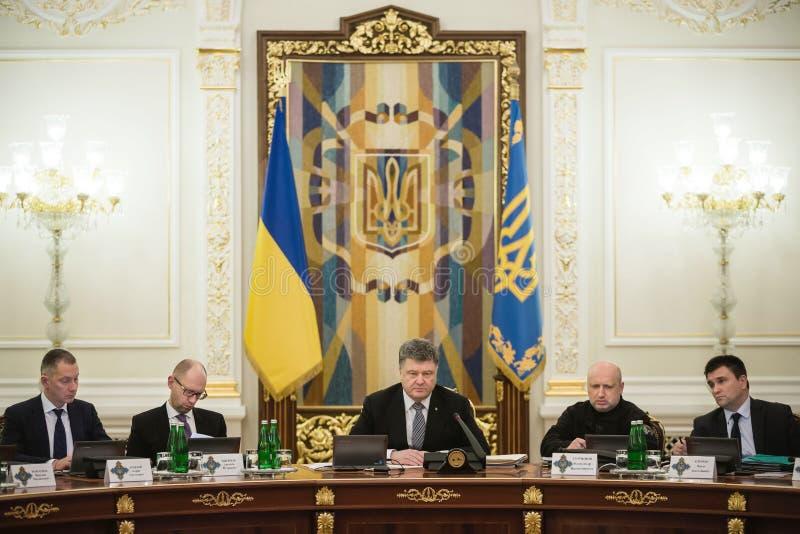 Vergadering van Nationale Veiligheid en Defensie de Raad in Kiev stock foto