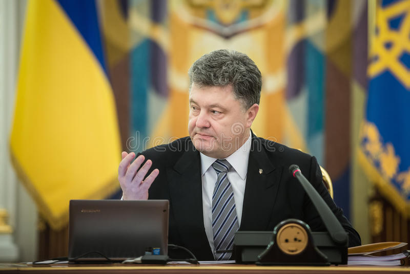 Vergadering van Nationale Veiligheid en Defensie de Raad in Kiev royalty-vrije stock foto