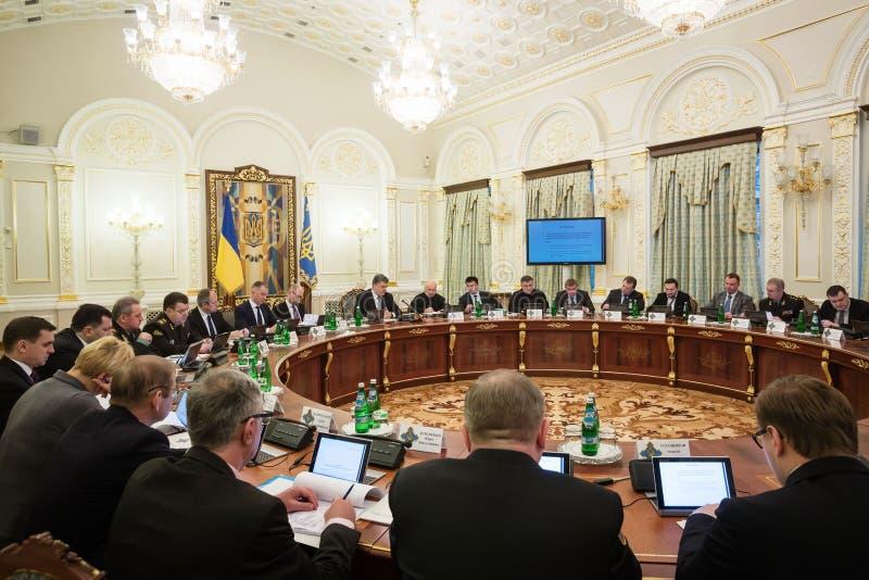 Vergadering van Nationale Veiligheid en Defensie de Raad in Kiev royalty-vrije stock afbeelding