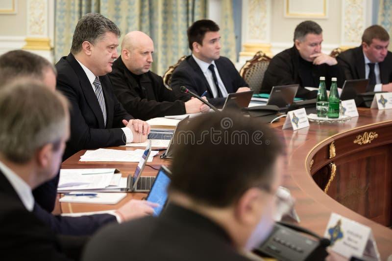 Vergadering van Nationale Veiligheid en Defensie de Raad in Kiev royalty-vrije stock afbeeldingen