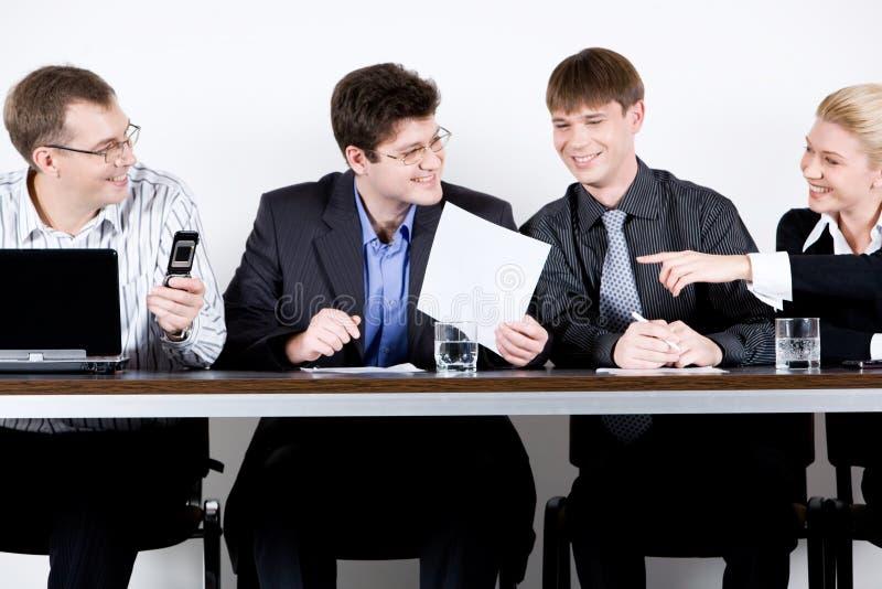 Vergadering van ondernemers stock afbeeldingen