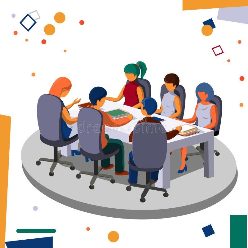 Vergaderingspersoneel in het bureau in de conferentieruimte Zaken en bureau vector illustratie