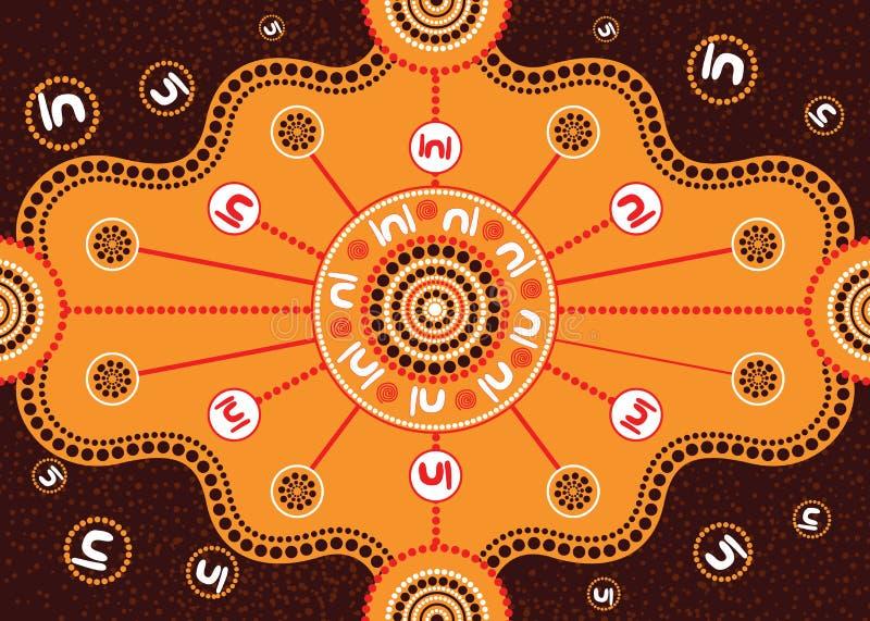 Vergaderingsplaats, het inheemse kunst vector schilderen royalty-vrije illustratie