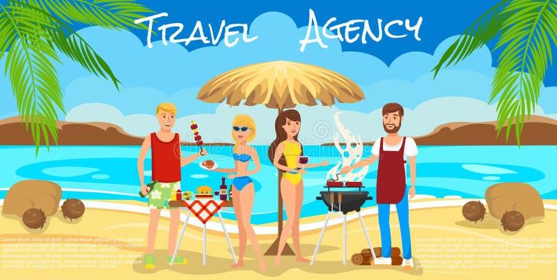 Vergaderingsvrienden op Strand Barbecue op strand stock illustratie