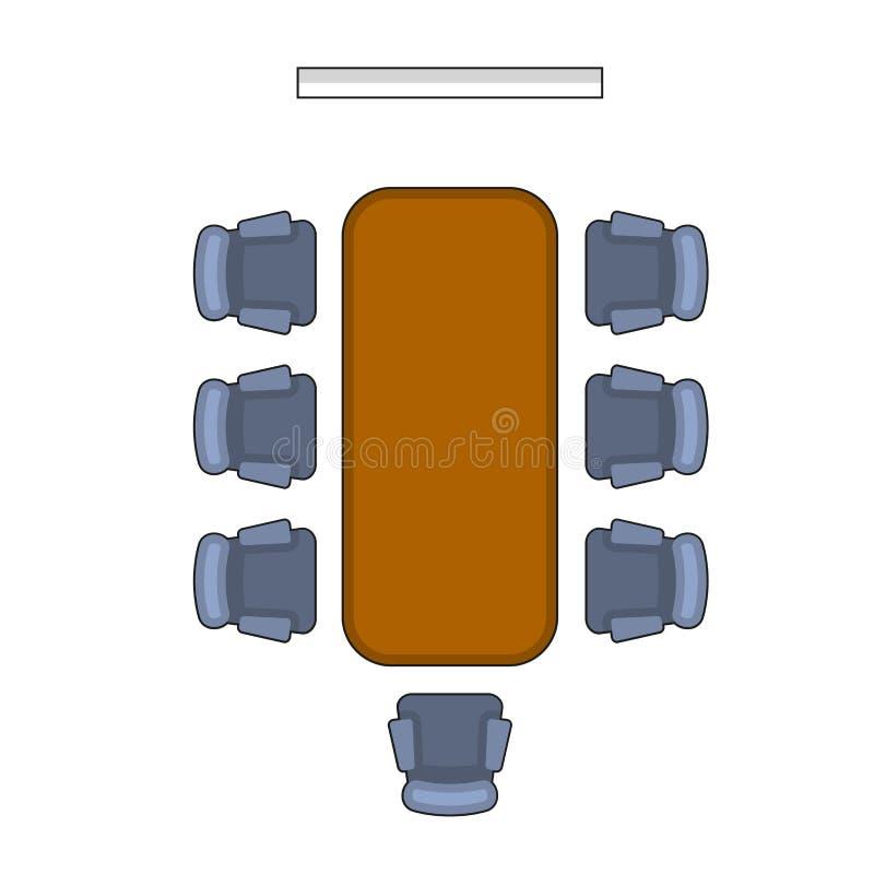 Vergaderzaallay-out De Vlakke Stijl van de conferentiebestuurskamer Vector vector illustratie