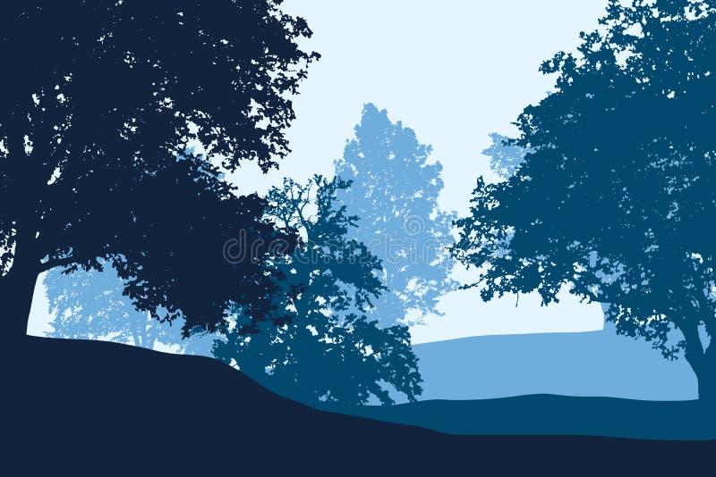 Vergankelijk bos tussen heuvels onder blauwe duidelijke hemel vector illustratie