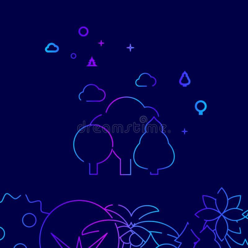 Vergankelijk Forest Vector Line Icon, Illustratie op een Donkerblauwe Achtergrond Verwante Bodemgrens vector illustratie