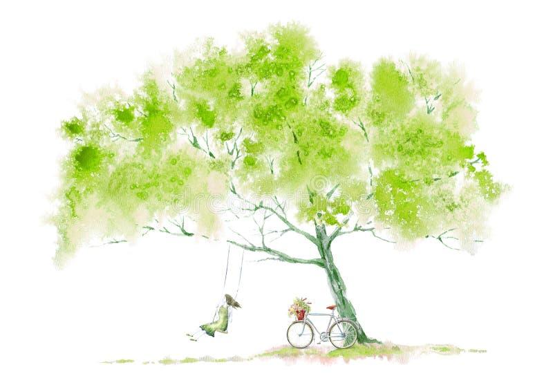 Vergankelijke boom en meisje op schommeling en fiets De zomerbeeld stock illustratie
