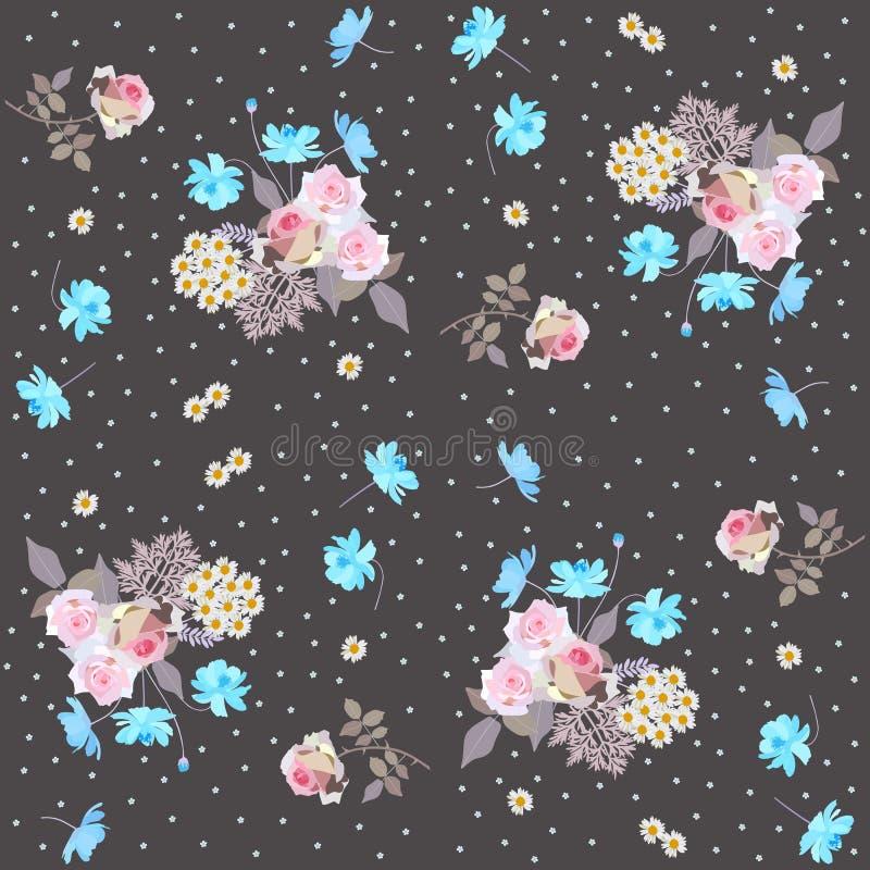 Vergeet het Ditsy bloemenpatroon met rozen, madeliefjes, me niet en kosmosbloemen vector illustratie