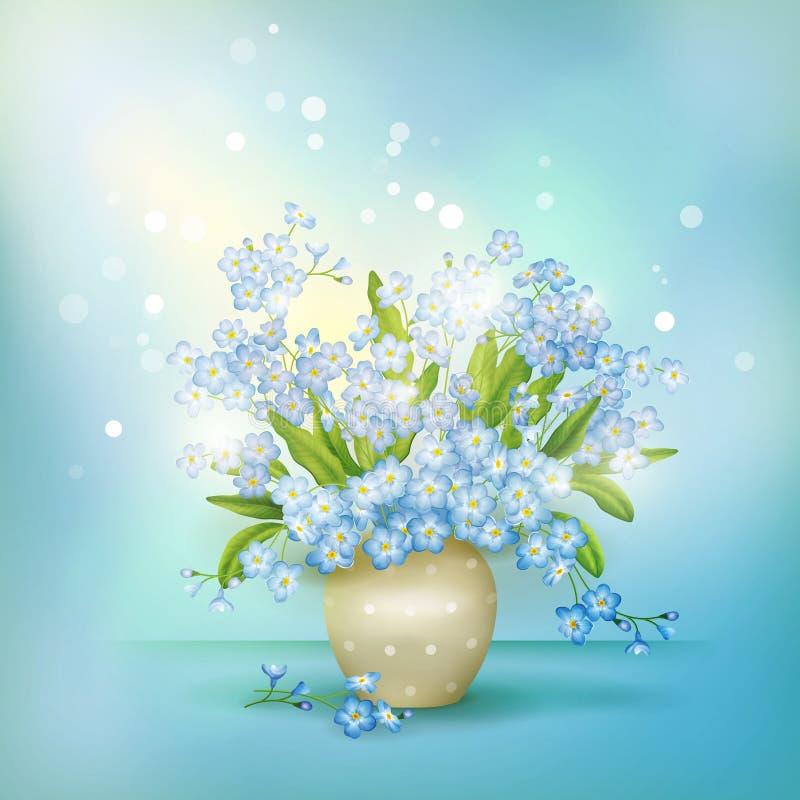 Vergeet-mij-nietjes van de lente de blauwe bloemen in vaasvector royalty-vrije illustratie