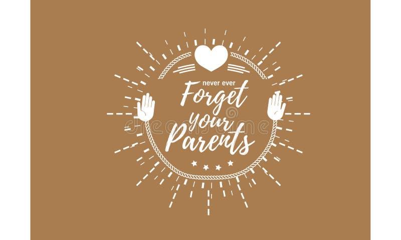 Vergeet nooit ooit uw ouders royalty-vrije illustratie