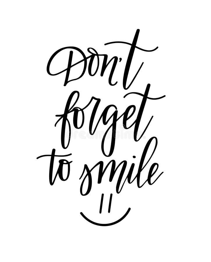 Vergeet om geen aardig zoet inspirational het van letters voorzien ontwerp te glimlachen stock illustratie