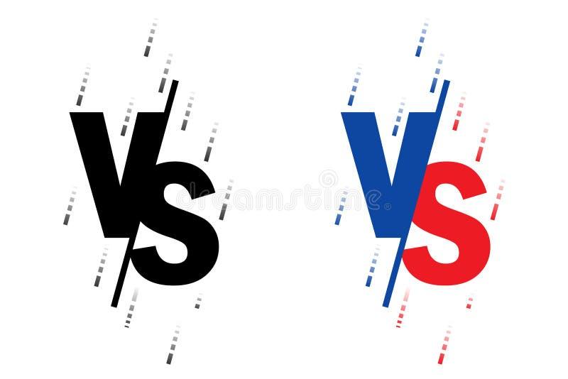 Vergeleken bij het scherm Bestrijding van achtergronden tegen elkaar, rood tegen blauw De zwarte vorm van de brieventextuur Vecto royalty-vrije illustratie