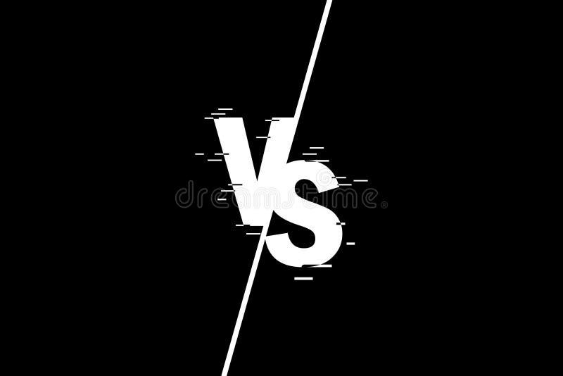 Vergeleken bij het scherm VERSUS abstracte achtergrond Tegenover embleem tegen brieven voor sporten en de anti-concurrentie Vecto vector illustratie