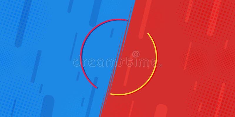 Vergeleken bij VERSUS bladen, wordt de bestrijding van achtergronden in vlak-paneel grappig ontwerp gemaakt van halftone, bliksem stock illustratie