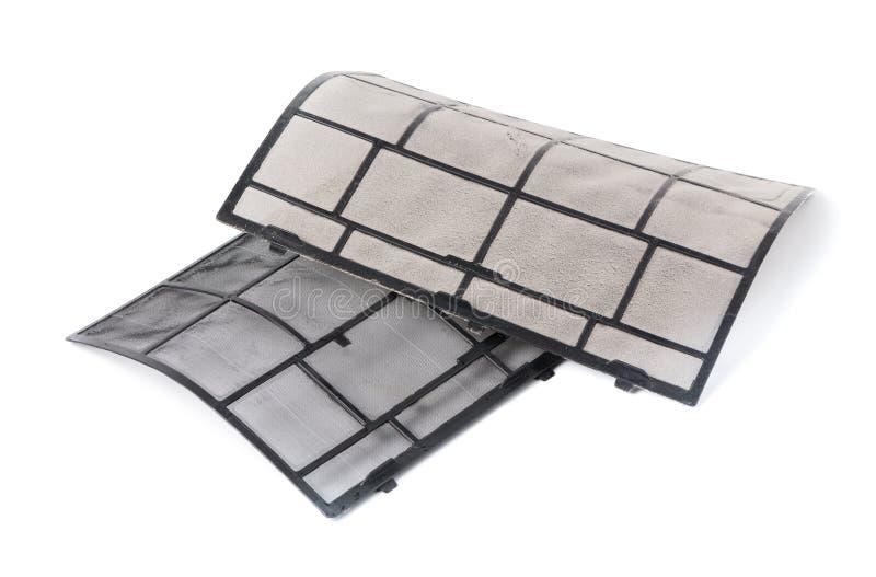 Vergelijk vuil en na de schone filter van de luchtvoorwaarde royalty-vrije stock afbeelding
