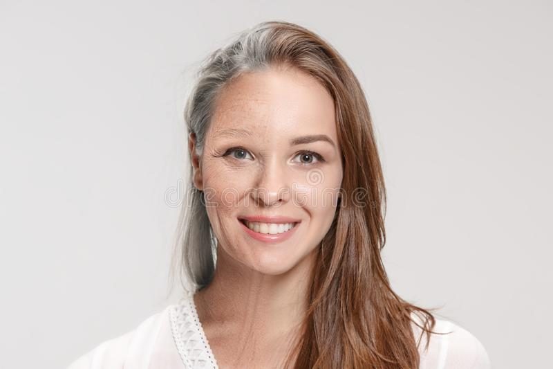 vergelijking Portret van mooie vrouw met probleem en schoon huid, het verouderen en de jeugdconcept, schoonheidsbehandeling royalty-vrije stock fotografie