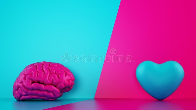 Vergelijking tussen reden en gevoel Hersenen en hart op twee toneelachtergrond 3D Rendering royalty-vrije illustratie
