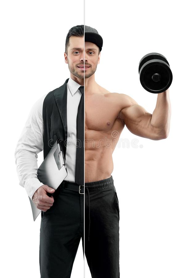 Vergelijking van manager en bodybuilder` s vooruitzichten royalty-vrije stock foto's
