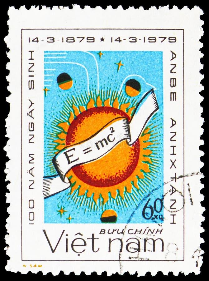 Vergelijking, zon, planeten, 100ste verjaardag van de geboorte van serie van Albert Einstein 1879-1955, circa 1979 royalty-vrije stock afbeelding