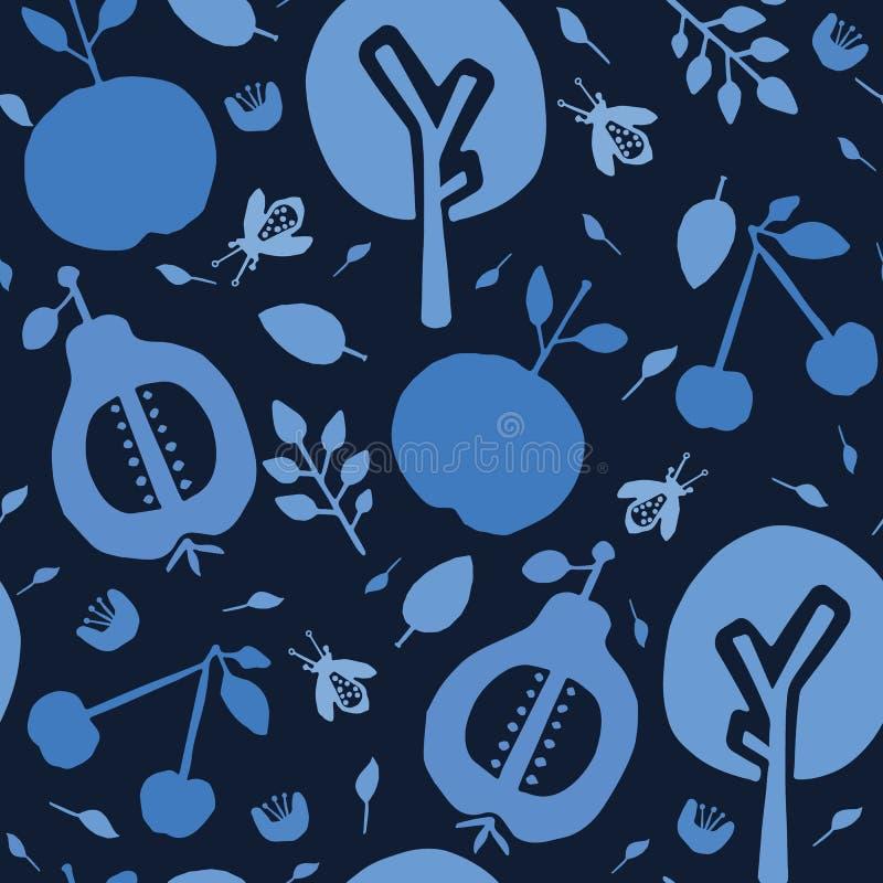 Verger d'arbre de bleu d'indigo Fond sans couture de mod?le de vecteur Le papier jeté en l'air tiré par la main de fruit a coupé  illustration stock