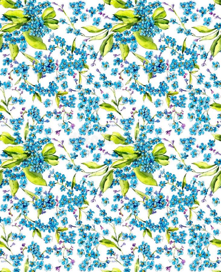 Vergessen Sie mich nicht Nahtloses Muster Watercolore-Handgezogene Illustration stock abbildung