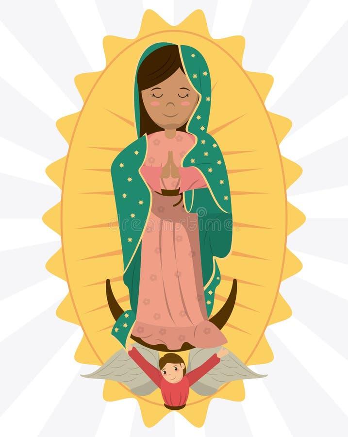 Vergine dell'immagine di devozione di angelo di Guadalupe illustrazione di stock
