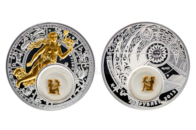 Vergine di astrologia della moneta d'argento della Bielorussia immagini stock libere da diritti