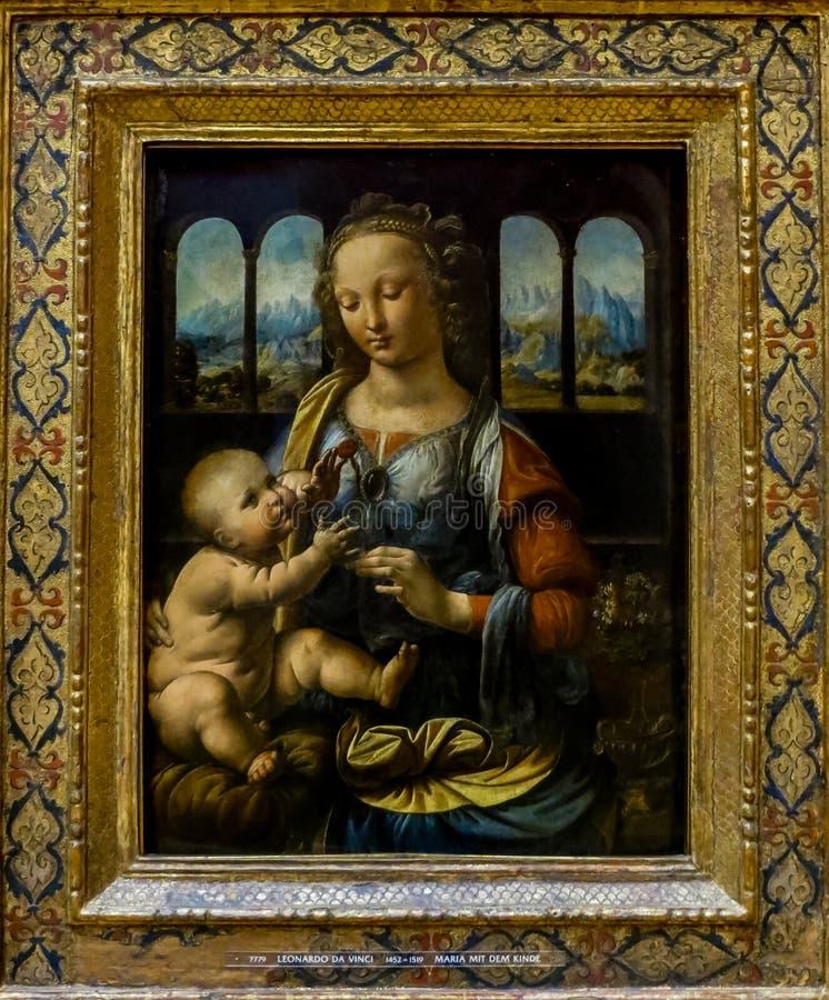 Vergine e bambino del ` s di Alte Pinakothek - di Leonardo da Vinci fotografia stock libera da diritti