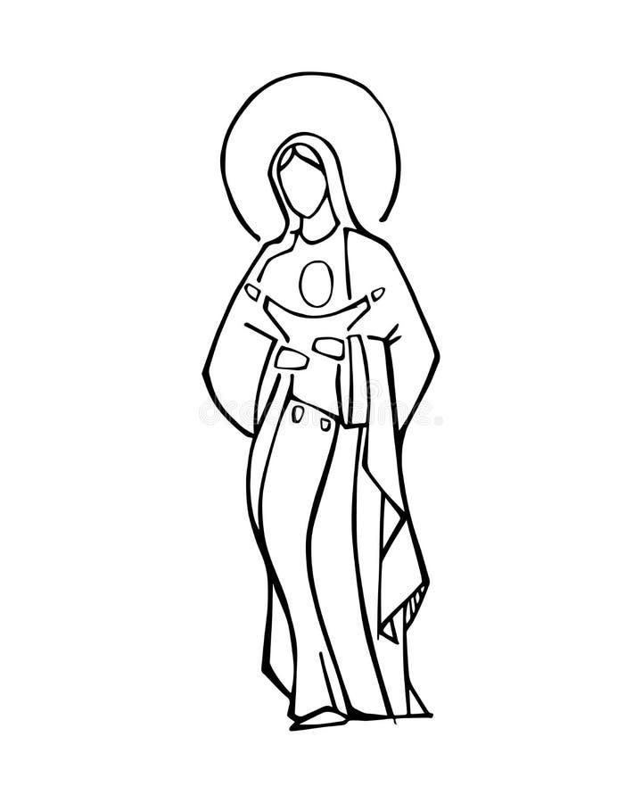 Vergine Maria ed illustrazione di vettore dell'inchiostro di Gesù del bambino illustrazione vettoriale