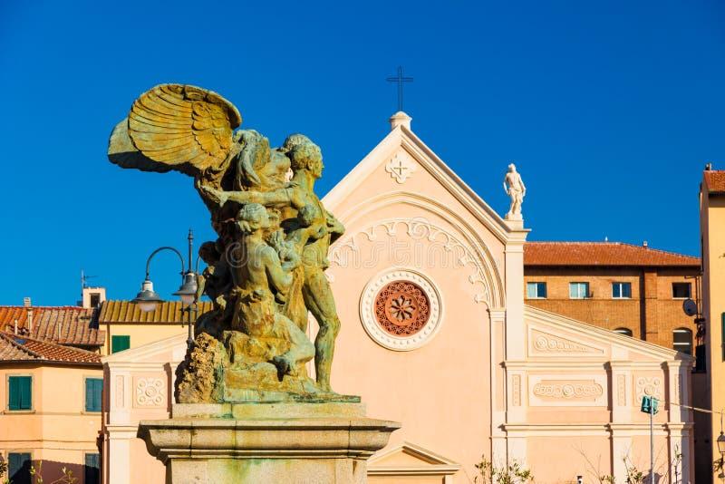 Vergine Mary Church di Nativita Beata Vergine Maria Nativity Blessed in Portoferraio, Italia fotografia stock