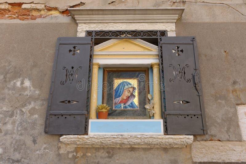 Vergine Mary Icon: Venezia Italia, ritratto incorniciato fotografia stock libera da diritti