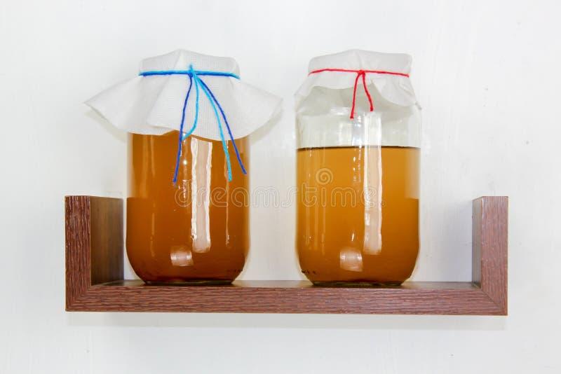 Vergiste drank, jun thee gezonde natuurlijke probiotic stock afbeeldingen