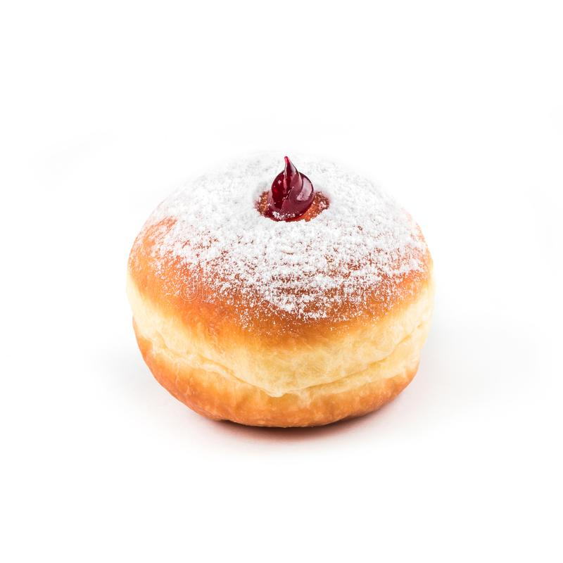 Verglaasde doughnut, hoogste mening op witte geïsoleerde achtergrond, royalty-vrije stock afbeelding