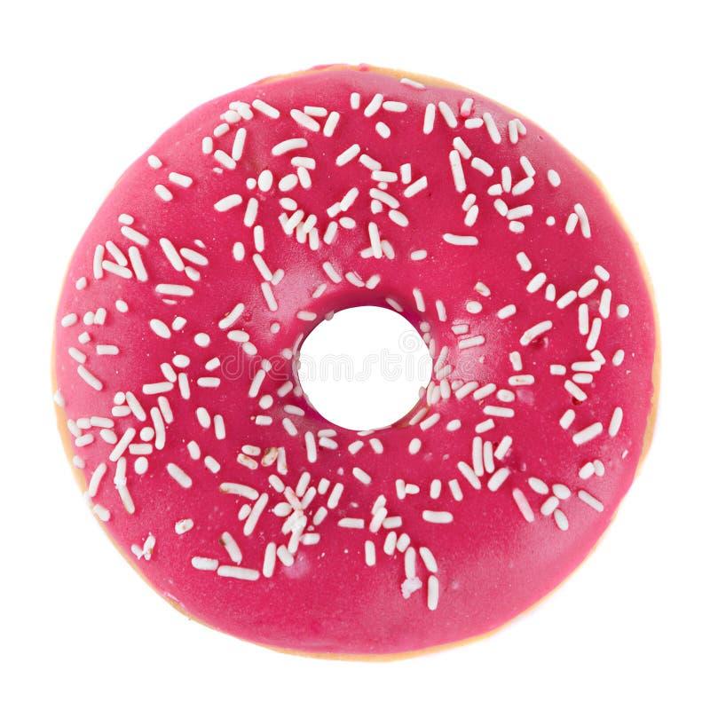Verglaasde doughnut in roze stock afbeelding