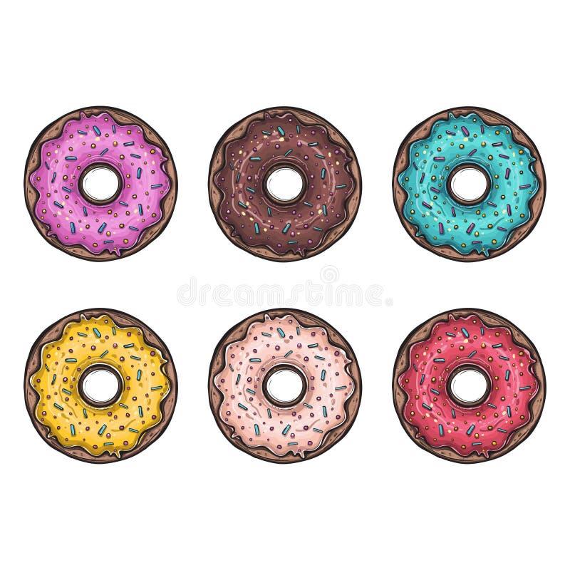 Verglaasde snoepjes donuts suiker royalty-vrije illustratie