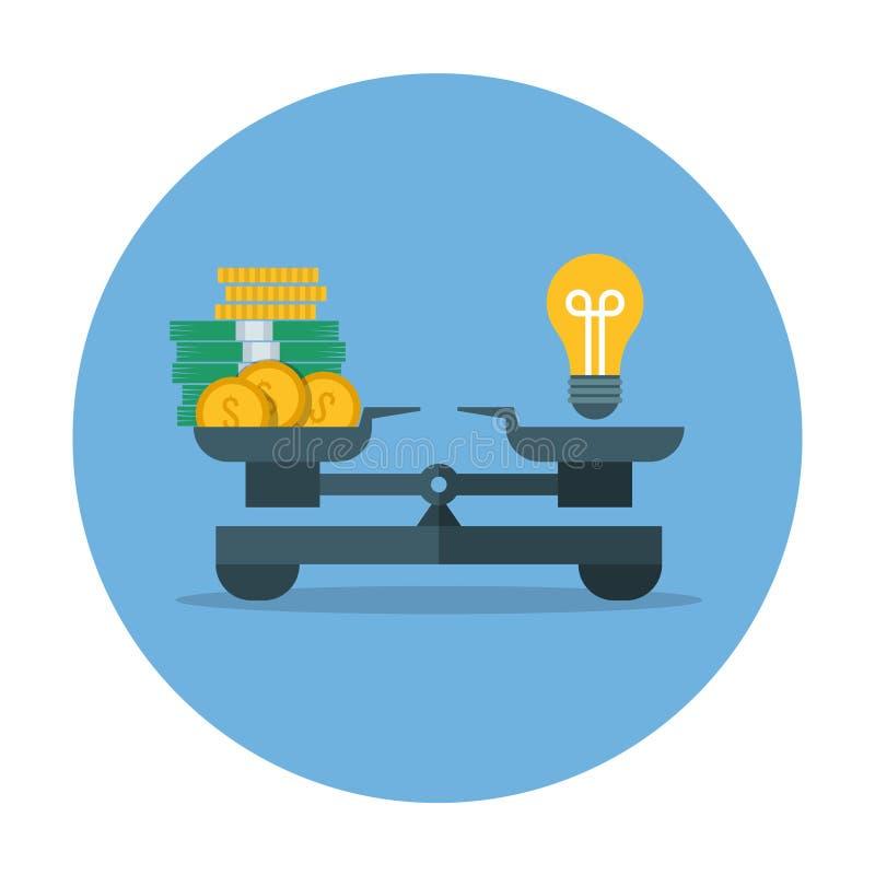 Vergleich des Geldwertes und der Idee, Geschäftsmaß-Vektorkonzept stock abbildung