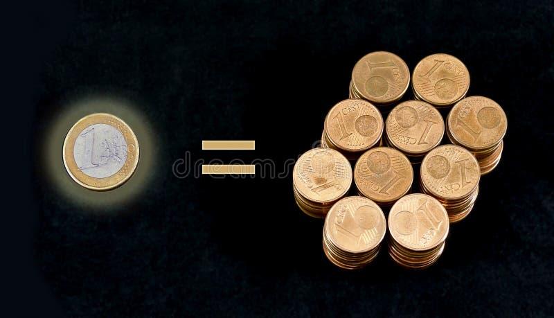 Vergleich von einer Euromünze und von hundert Eincent-Münzen lizenzfreie stockbilder