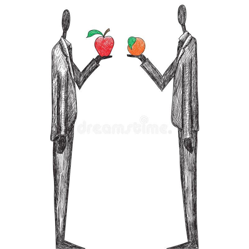 Vergleichen der Äpfel und der Orangen stock abbildung