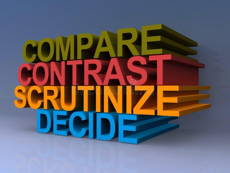 Vergleichen Sie, kontrastieren Sie, forschen Sie nach, entscheiden Sie lizenzfreie abbildung